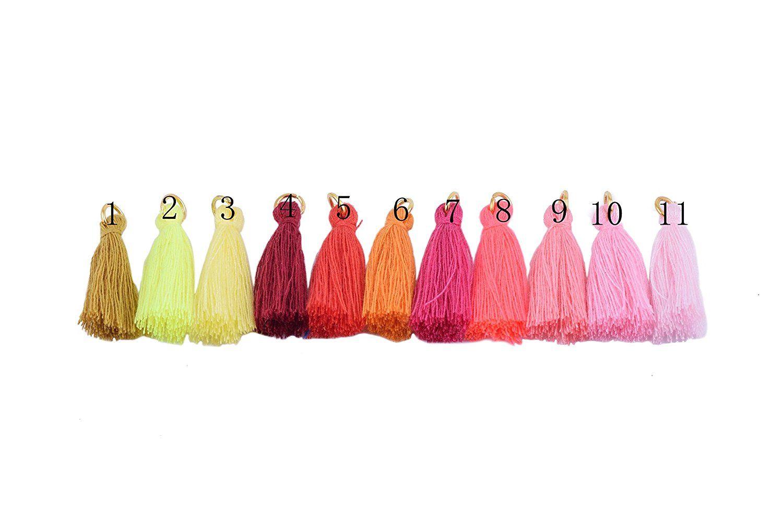 50pcs Red Silky Handmade Tiny Spring Colors Soft Tassels 1.4 Colorful Tassels Earring Tassels Mini Tassels