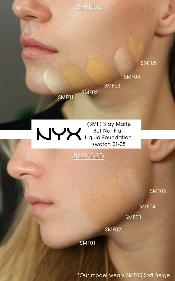 Nyx Stay Matte But Not Flat Powder Foundation Shade Finder Swatches On The Jaw Line Of Our Model Using Smf Stay Matte But Not Flat Liquid Foundation Our Model Wear Makeup Life Hacks Pinterest Makeup Drugstore Makeup