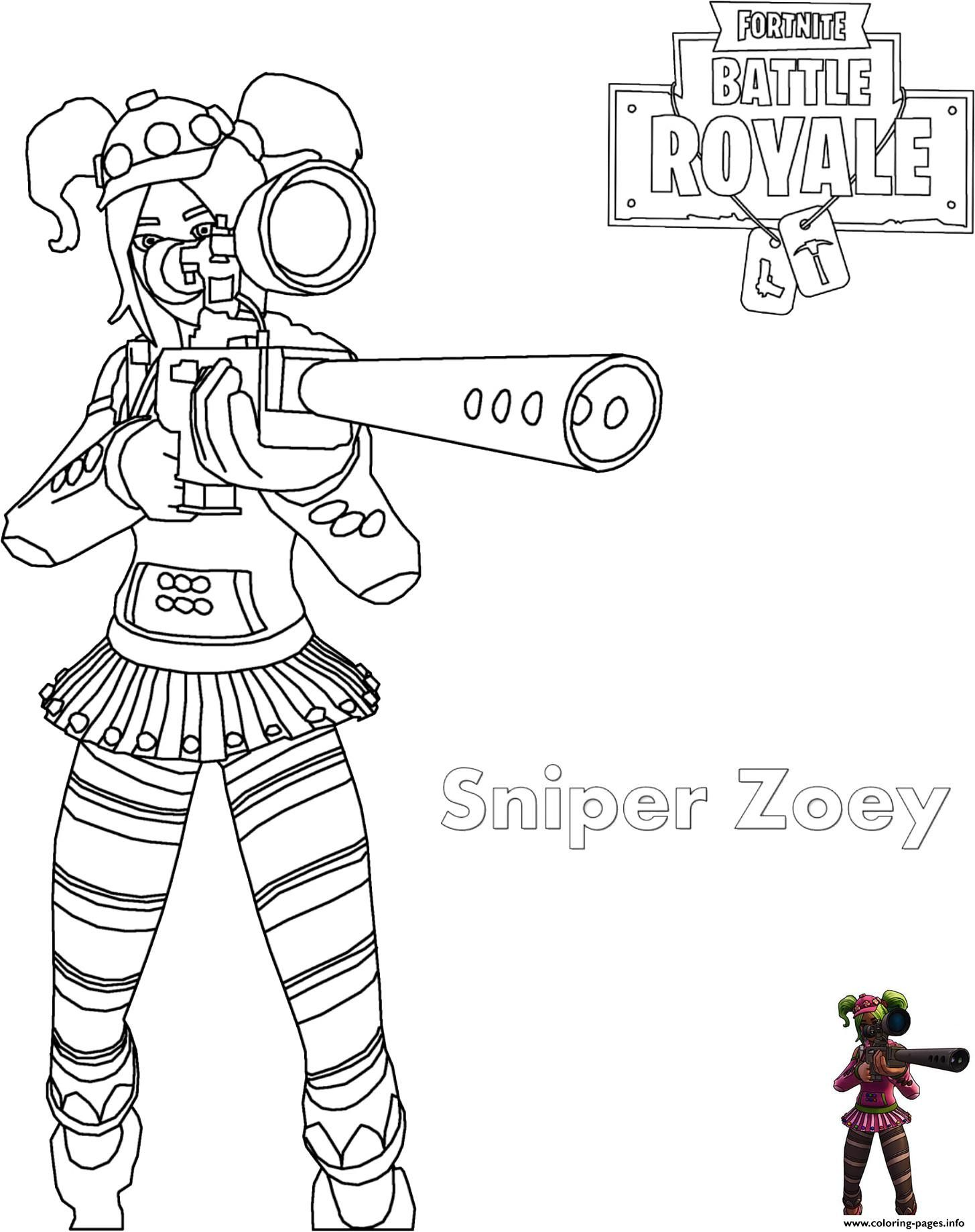 Print zoey sniper rifle fortnite coloring pages Fortnite