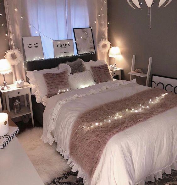 niedliche Schlafzimmerideen; gemütliche Schlafzimmerideen; rosa Schlafzimmerentwürfe; Schlafz...