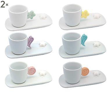 Set di 12 tazzine caffe' c/piattino in porcellana con zuccherini Anice - Betty