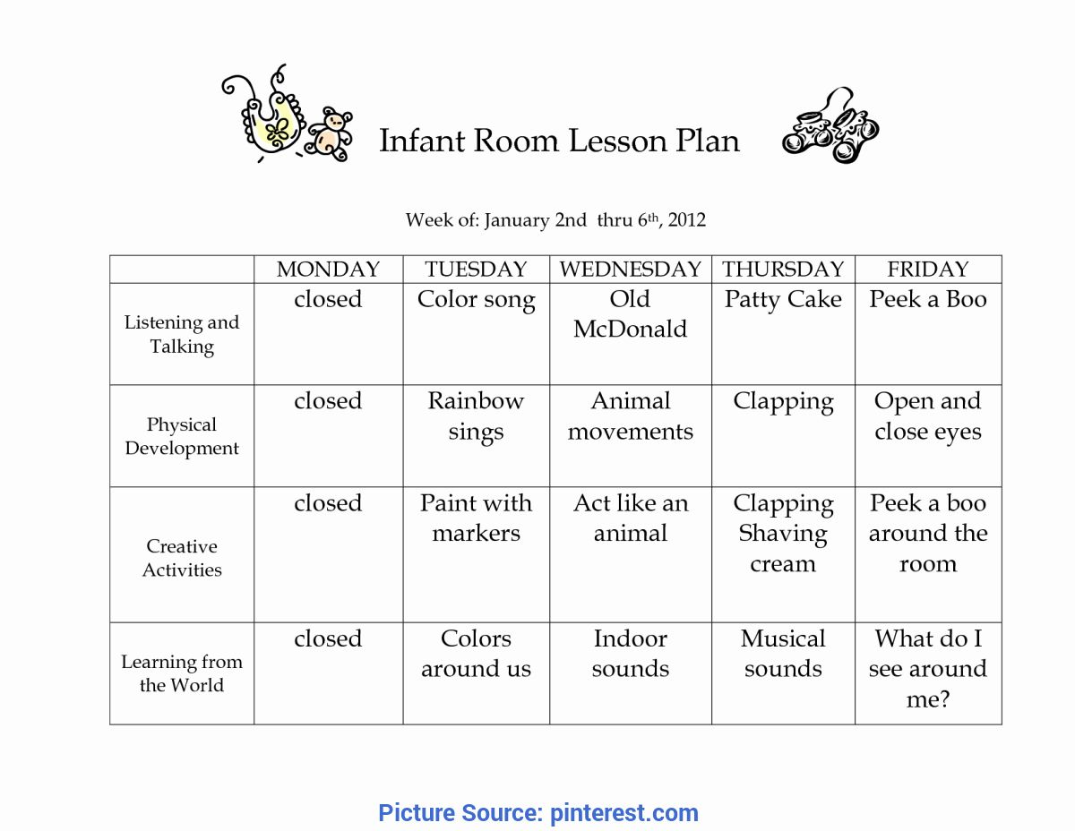 Weekly Lesson Plans For Infants Unique Infant Room Lesson Plan Westlake Childcare By Li In 2021 Lesson Plans For Toddlers Toddler Lesson Plans Template Toddler Lessons