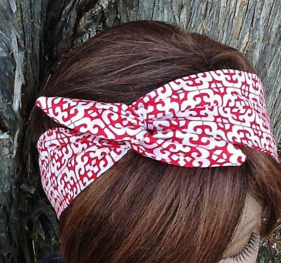 Wire Headband Black Wired Dolly Bow Rockabilly Scarf Bunny Ears