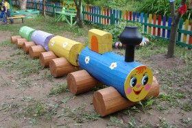 Паровозик на детскую площадку своими руками в садик фото