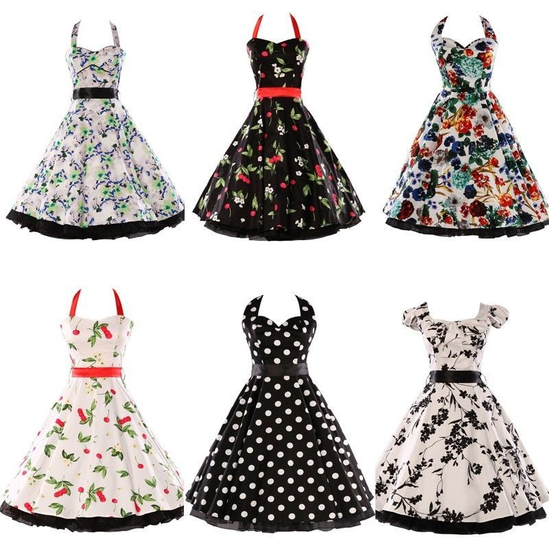 New Vintage Retro Floral 50\'s 60\'s Short Mini Formal Party Prom ...