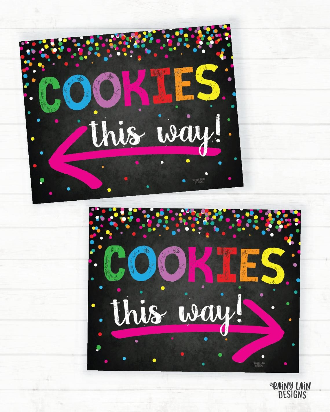 Cookie Booth Signs, Cookie Booth Printable, Scout Cookie Sign, Cookie Booth Decorations, Cookie Arrow Sign, Bake Sale, Instant Download #bakesaleideas