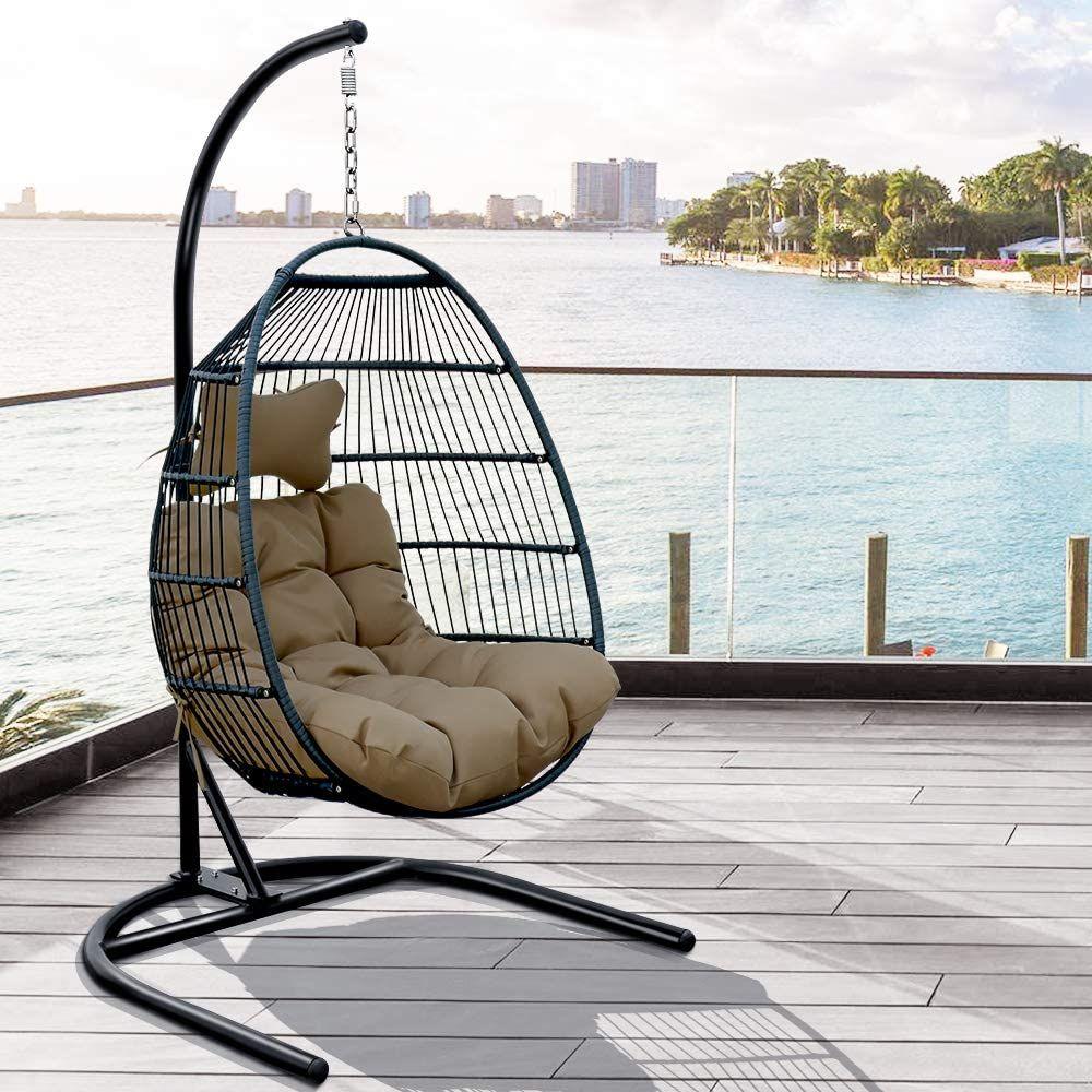 Amazon Com Joybase Hammock Swing Chair With Stand Hanging Egg Chair Wicker Rattan Teardrop Chair In 2020 Hammock Swing Chair Hanging Egg Chair Indoor Hammock Chair