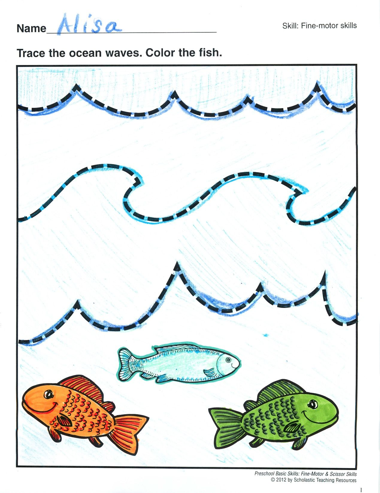 Tracing Wavy Lines Preschool Basic Skills Fine Motor Little Fingers Use Pencil Or Crayon To