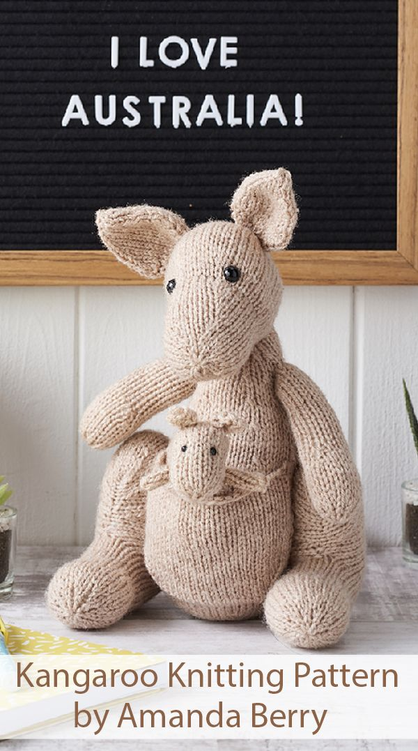 Knitting Pattern for Kangaroo and Joey Toys by Amanda Berry