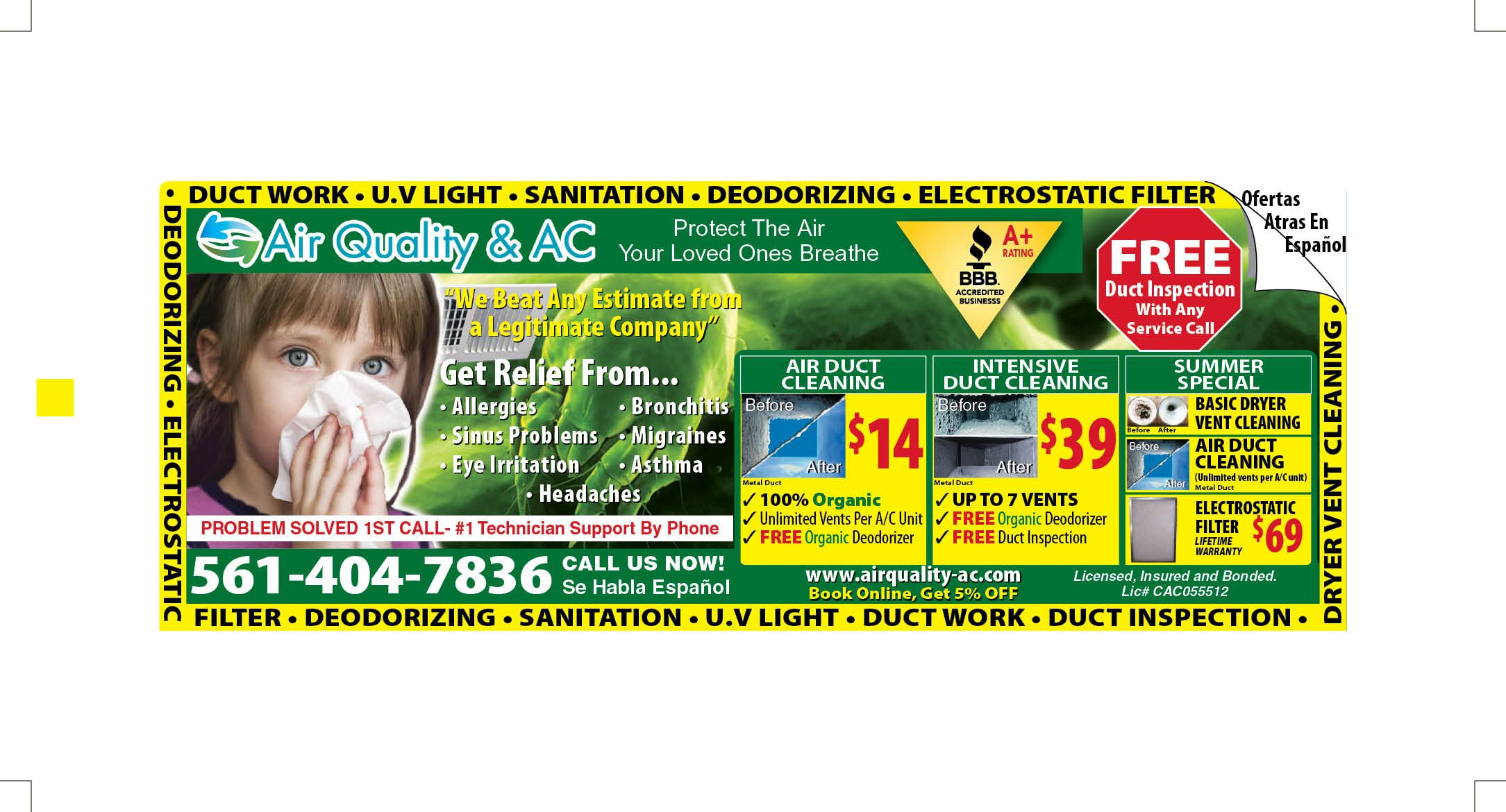 Air duct cleaning Valpak ad featuring several coupons for