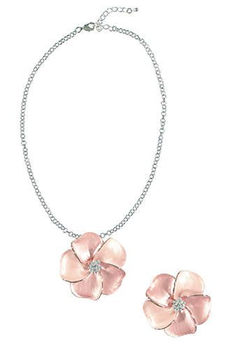 Rose Enamel Necklace & Brooch Set