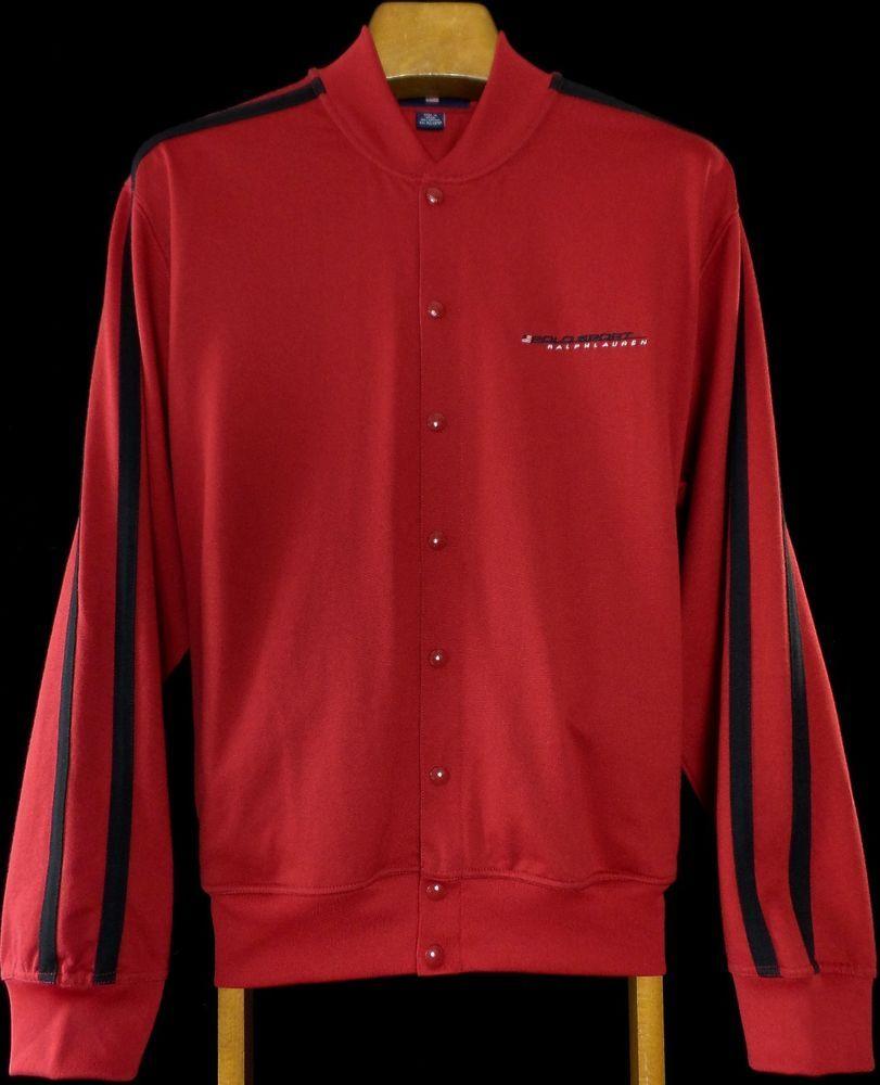 VTG Polo Sport FLAG Ralph Lauren Men\u0027s Xl Snap Up Jacket Vintage 80\u0027s Red  Coat #