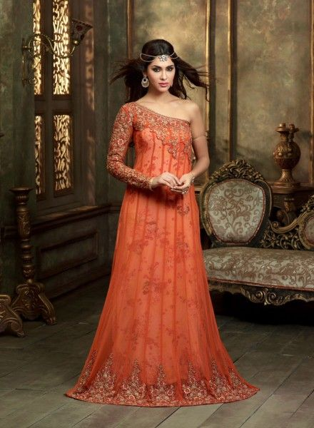 Orange evening party wear designer Indian gown in net J15465 ...