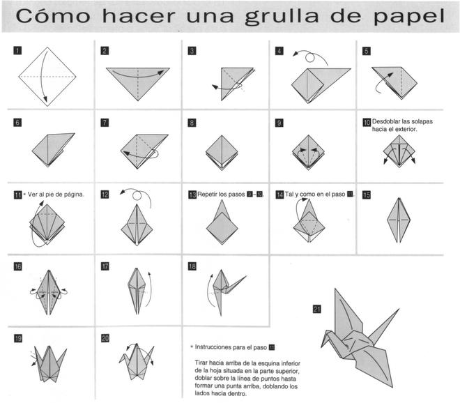 Resultado de imagen de papiroflexia como hacer una grulla