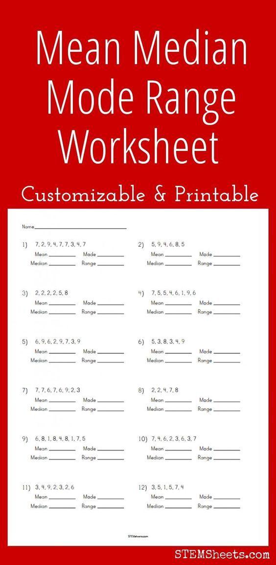 Math Worksheets customizable math worksheets : Customizable and printable Mean Median Mode Range Worksheet | 4th ...