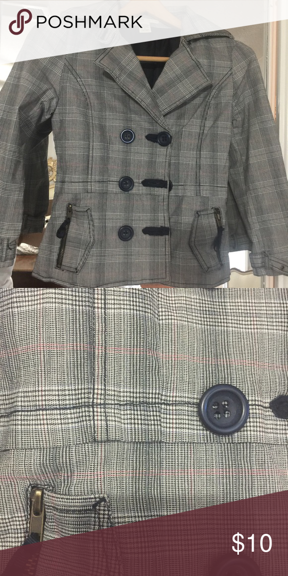 Short plaid trench jacket Really cute casual plaid trench jacket. 3/4 sleeves. Size Small Jackets & Coats