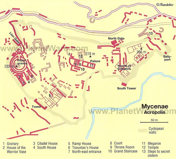 mycenae acropolis map tourist attractions history