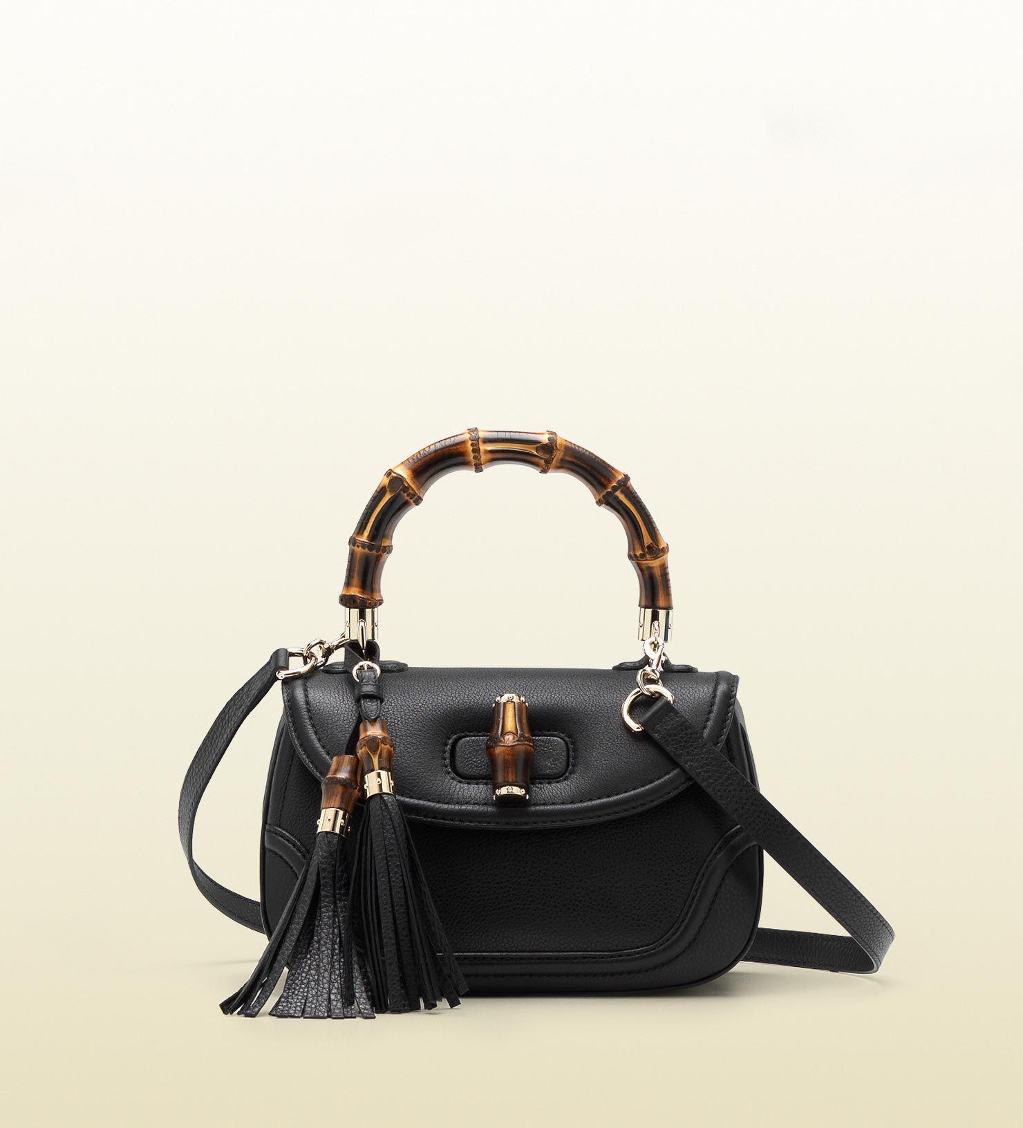da13e4fed95 Gucci bamboo leather top handle bag