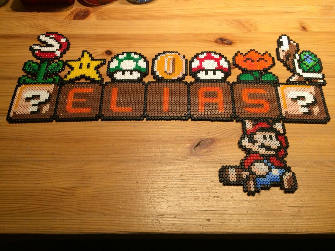 Bügelperlen - Namensschild von Super Mario Broth.   Bügelperlen ...