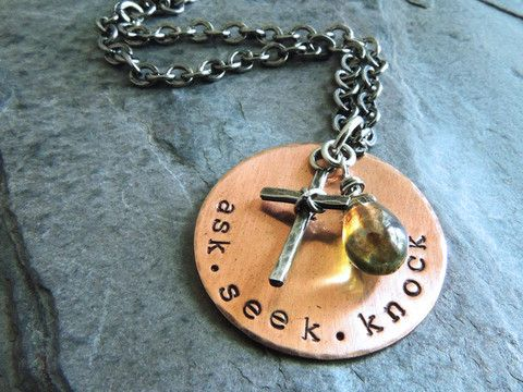 Ask Seek Knock Christian Necklace