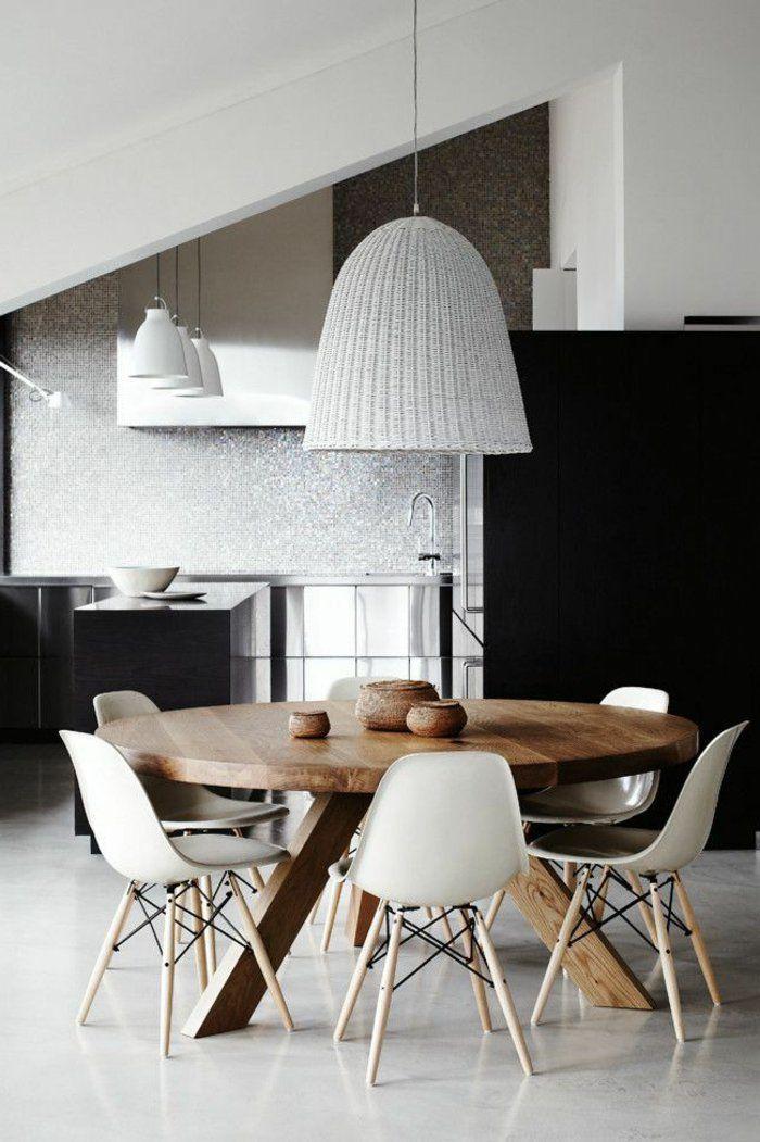 1 Jolie Salle A Manger Complete Pas Cher Avec Table Ronde En Bois Massif Et Dining Room Furniture Modern Modern Dining Room Apartment Dining Room