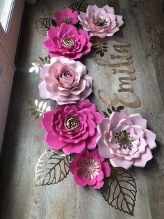 7 paper flowers   baby shower gift paper flower backdrop baby girl nursery bridal shower communion b