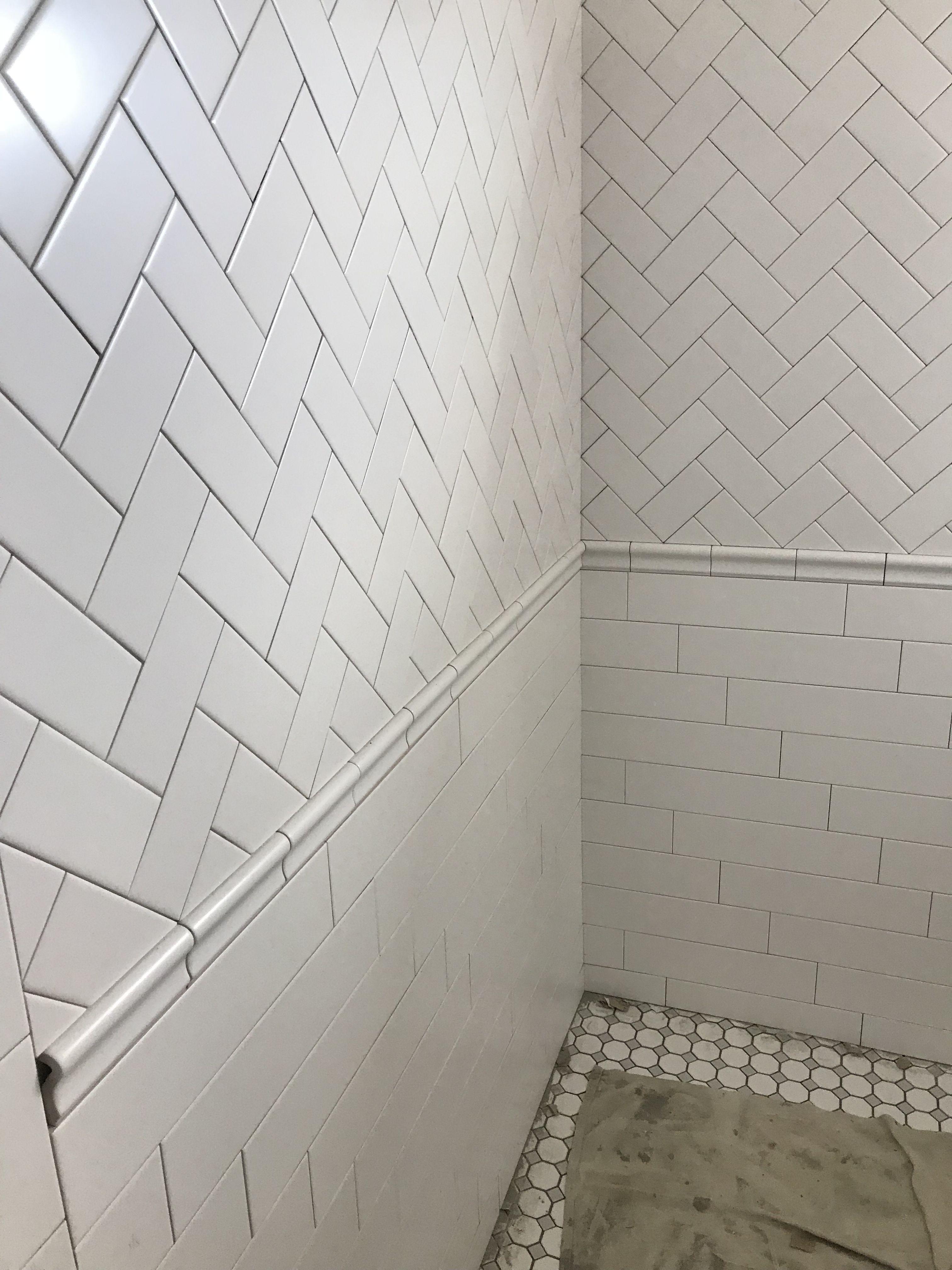 Master Bath White Subway Herringbone Gray Octagon And Dot