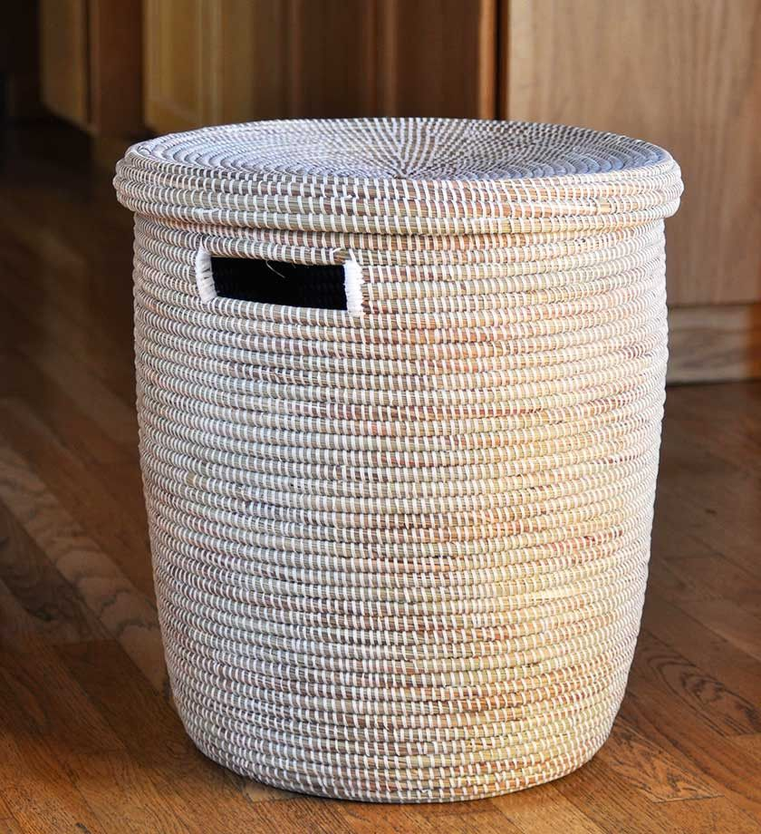 Large White Lidded African Basket Basket Handmade In Africa