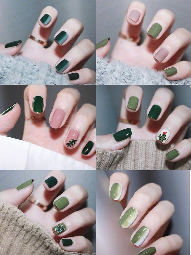 Green nail designs for winter