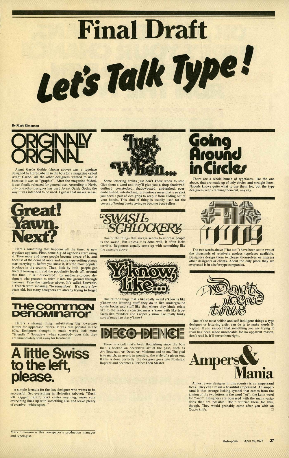 Let S Talk Type From Metropolis Newspaper Fonts In Use Lettering Lettering Alphabet Let It Be
