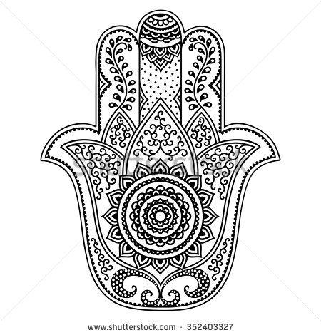 Vector hamsa hand drawn symbol stock vector knutsel - Coloriage main de fatma ...