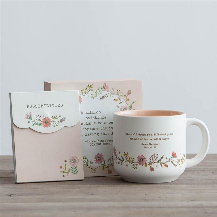 Karen Kingsbury Mug Plaque And Mini Notepad Gift Set