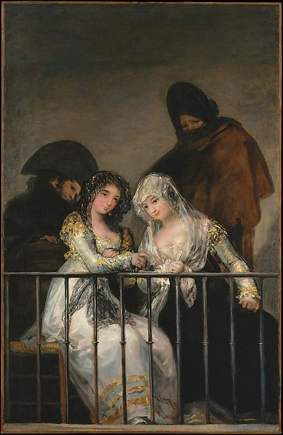 Majas on a Balcony, attributed to Goya. ca. 1800-1810. The theme of women on a balcony overseen by watchful, somewhat threatening male companions strongly engaged Goya.
