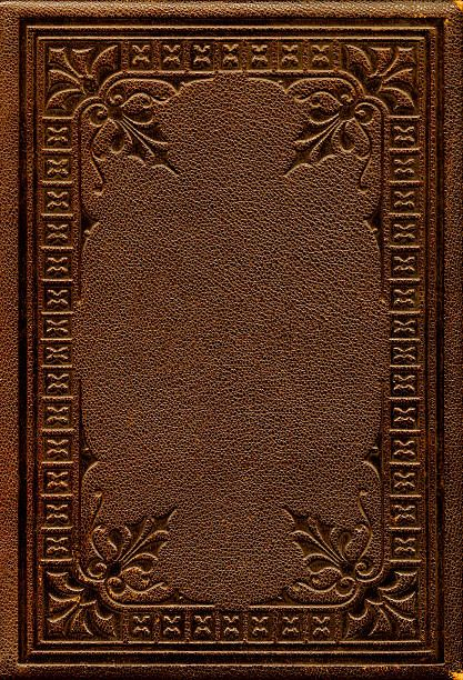 Old Fashioned Book Cover : Close up of a brown antique leather book cover stock photo