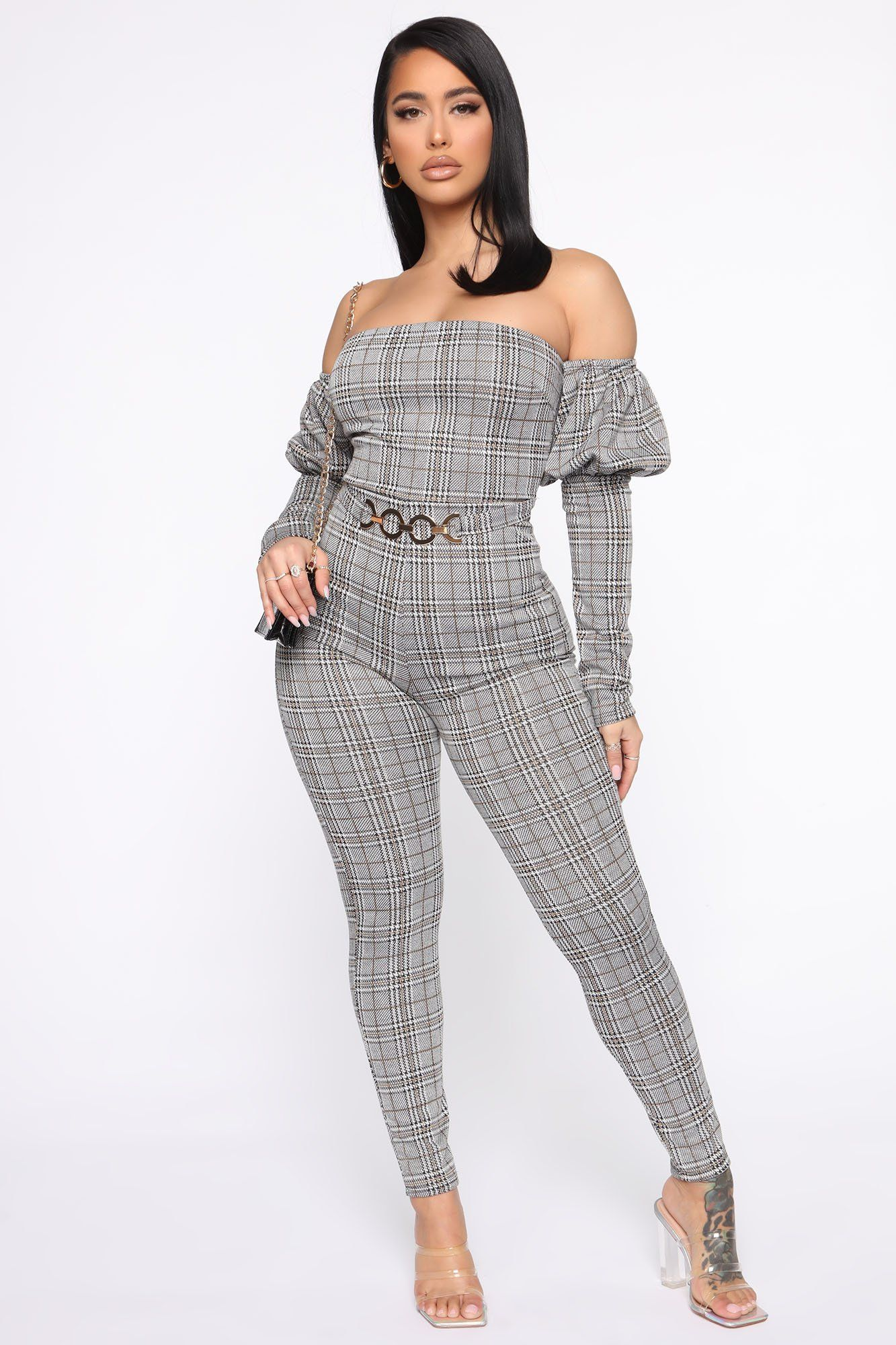 Never Been Plaid Jumpsuit Black/White in 2021 Plaid