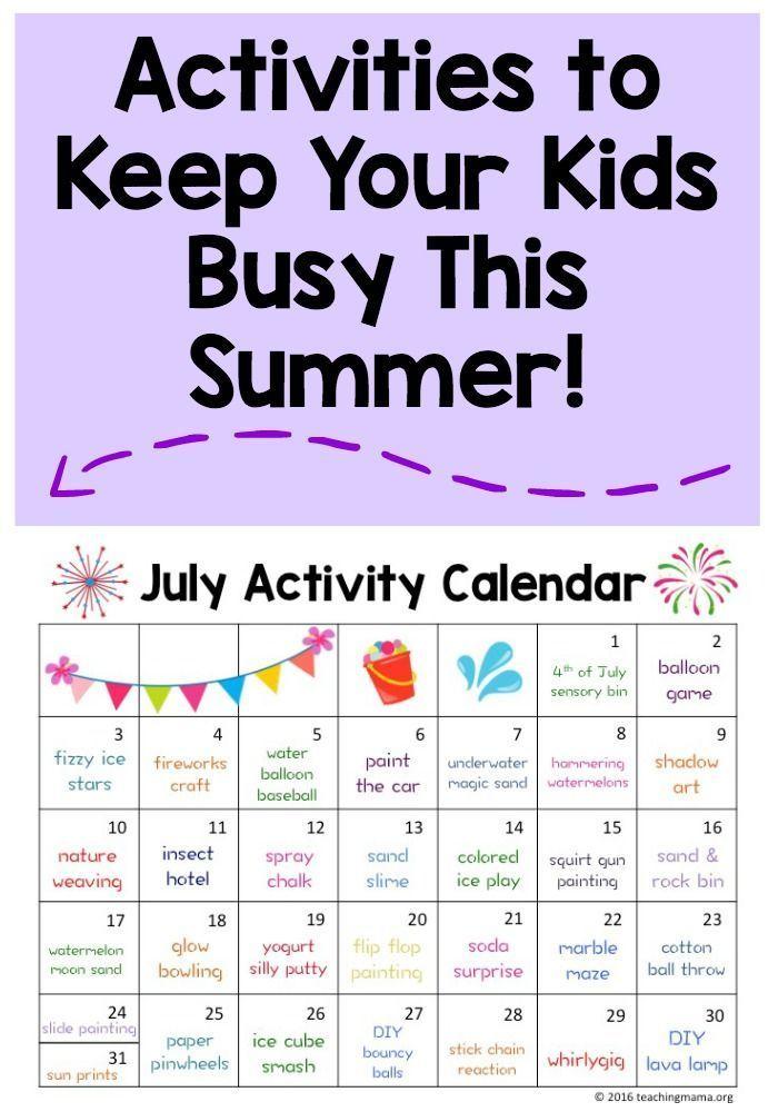 July Activity Calendar Fun summer activities, Activities and Summer