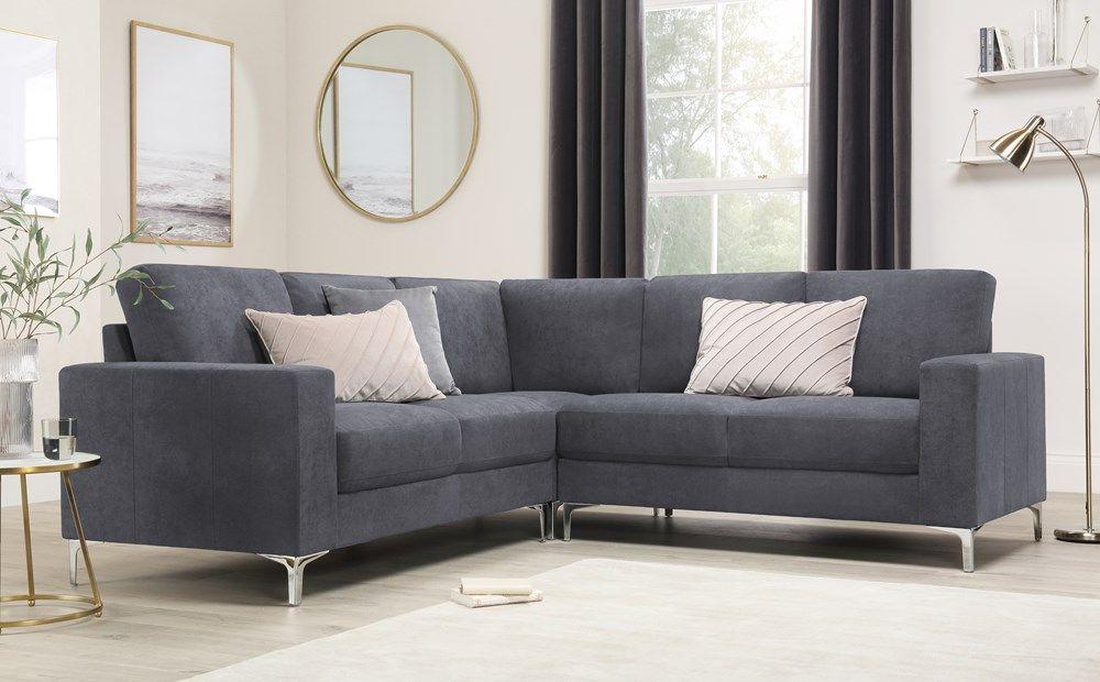 Baltimore Slate Grey Plush Fabric Corner Sofa Furniture Choice Corner Sofa Living Room Corner Sofa Furniture Choice
