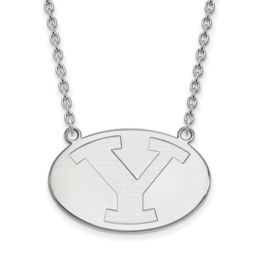 Sterling Silver LogoArt Brigham Young University Large Pendant w/Necklace