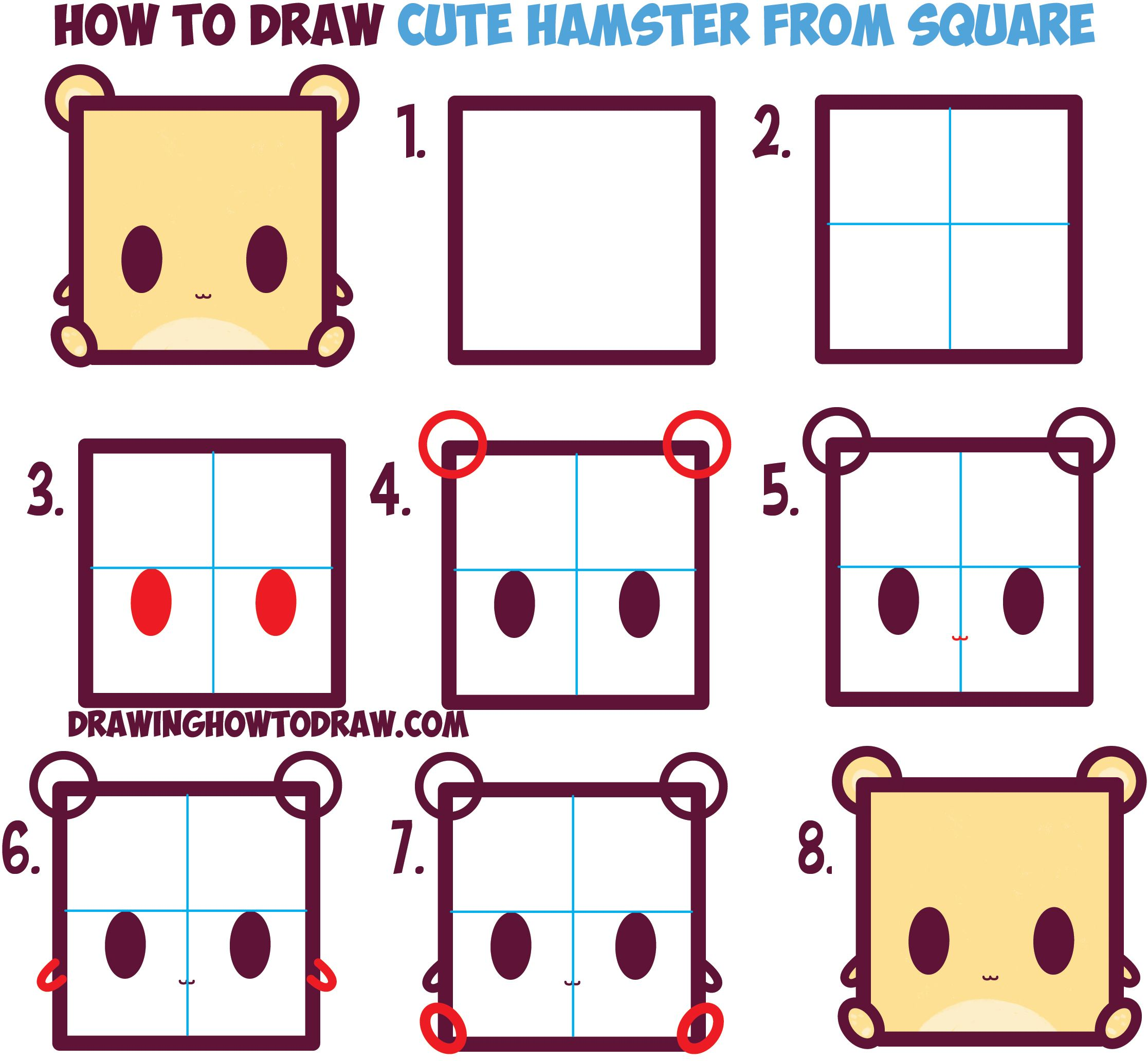 How to draw cute kawaii cartoon baby hamster from for How to draw easy stuff but cute