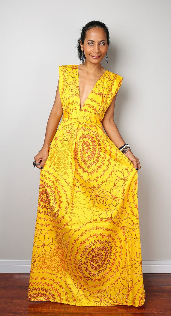maxi dress funky african dress boho yellow dress oriental
