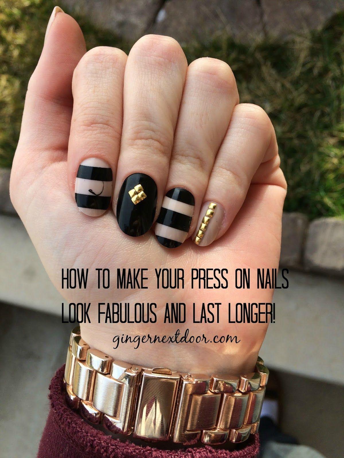 Ginger Next Door Tips For Making Press On Nails Last Press On Nails Studded Nails Diy Nails