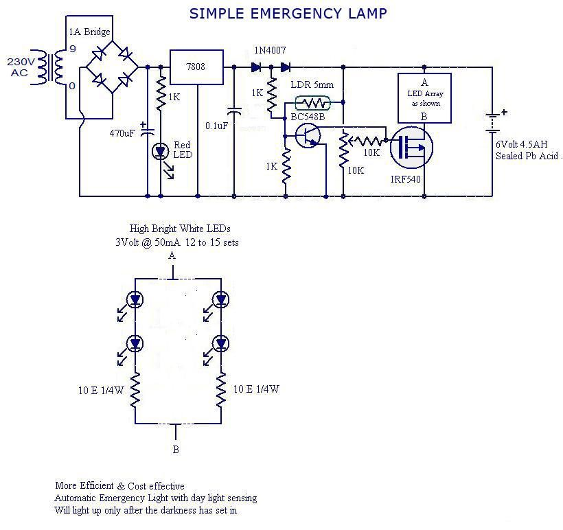 simple emergency lamp circuit electronic circuits pinterest rh pinterest com