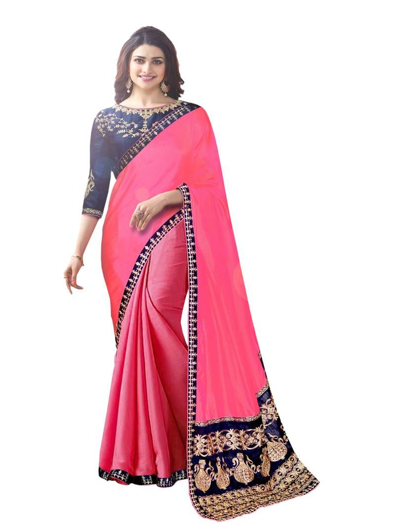 9893f875b64fe Pink Colored Embroidered Silk Saree With Blouse