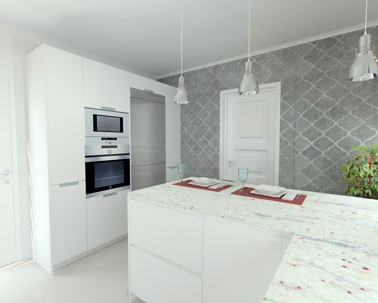 Cocina santos line estratificado blanco encimera granito for Encimera cocina granito