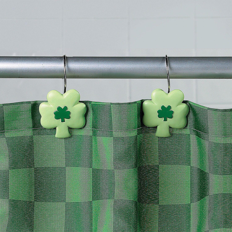 $6.99 Shamrock Shower Curtain Hooks - OrientalTrading.com | Luck ...