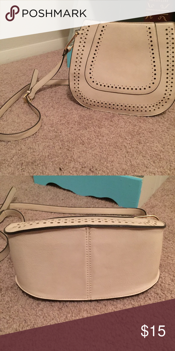 Cream and gold cross body bag Cream cross body with leather detail. Lightly used. Franco Sarto Bags Crossbody Bags