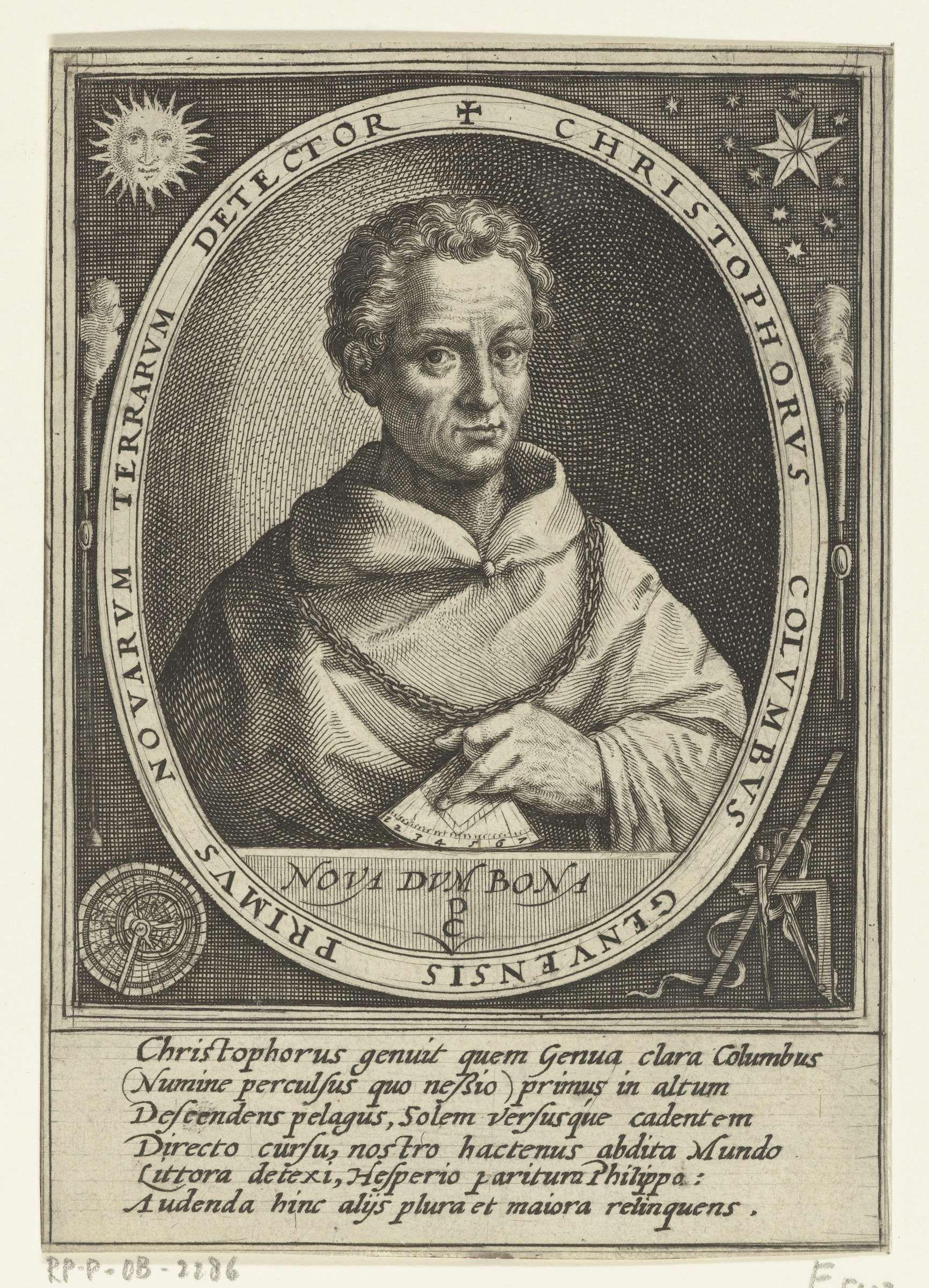 Crispijn van de Passe (I)   Portret van Christoffel Columbus, Crispijn van de Passe (I), 1598   Portret van de ontdekkingsreiziger Christoffel Columbus, eronder zijn devies in het Latijn. In het randschrift van de omlijsting de naam en functie van de geportretteerde in het Latijn. In de hoeken diverse navigatieinstrumenten. In de marge een zesregelig lofdicht in het Latijn.