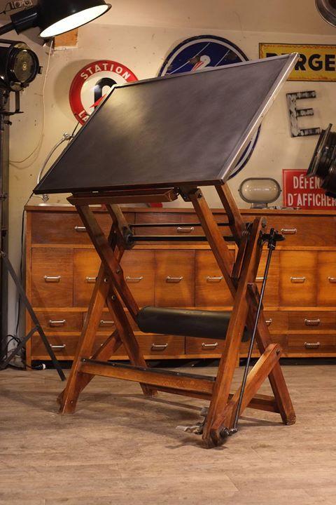 table a dessin en bois et metal 1940 plus d 39 info sur. Black Bedroom Furniture Sets. Home Design Ideas