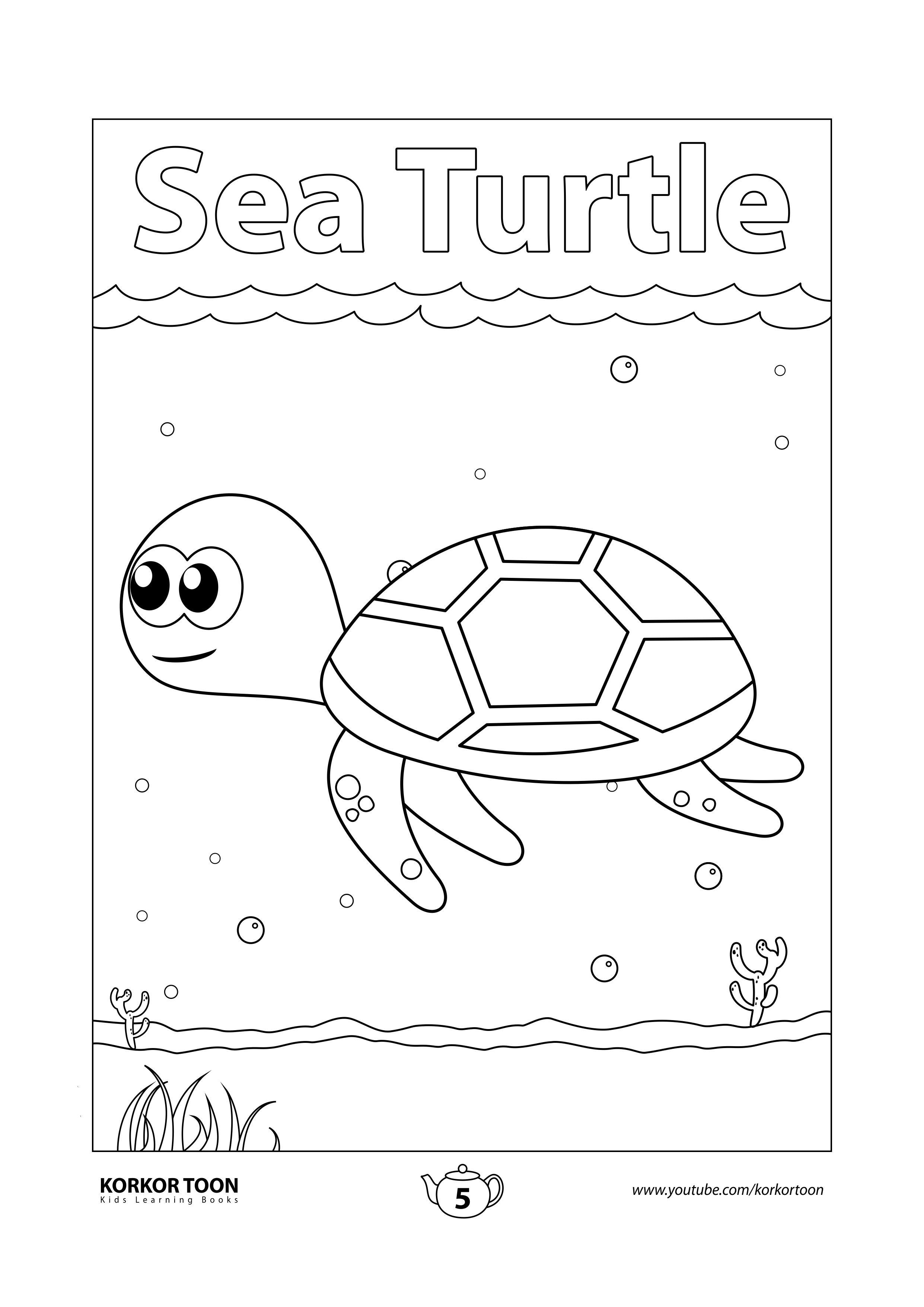 Sea Turtle Coloring Page Sea Animals Coloring Book For Kids Coloring Books Turtle Coloring Pages Animal Coloring Books