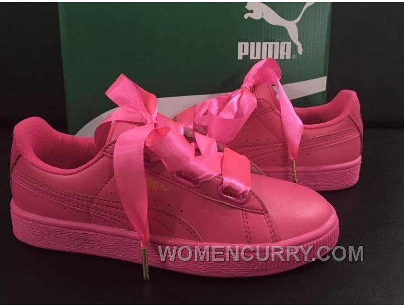 puma basket heart rosa lack